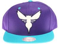 Charlotte Hornets Logo Mitchell & Ness 3M Reflective Fluro Underbrim Purple Snapback Hat