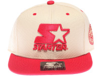 Starter Red Classic Star Logo STARTER Tan Canvas Snapback Hat
