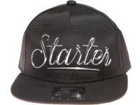Starter Silver Metal Logo STARTER Black Nylon Snapback Hat