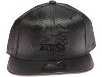 Starter Black Star Logo Leather Brim STARTER Black Nylon Snapback Hat