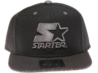 Starter Grey Classic Star Logo Speckle Brim STARTER Black Snapback Hat