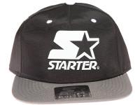 Starter Classic White Star Weld Logo STARTER Black and Grey Nylon Snapback Hat