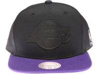 Los Angeles Lakers Black Weld Logo Mitchell & Ness Black and Purple Snapback Hat