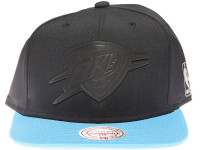 Oklahoma City Thunder OKC Black Weld Logo Mitchell & Ness Black and Light Blue Snapback Hat