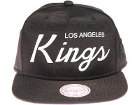Los Angeles Kings White Weld Script Mitchell & Ness Black Nylon Snapback Hat