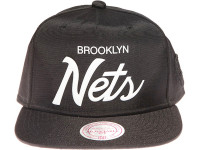 Brooklyn Nets White Weld Script Mitchell & Ness Black Nylon Snapback Hat