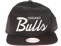 Chicago Bulls White Weld Script Mitchell & Ness Black Nylon Snapback Hat