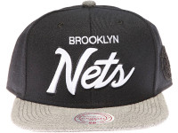Brooklyn Nets White Raised Script Mitchell & Ness Black and Grey Snapback Hat