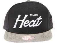 Miami Heat White Raised Script Mitchell & Ness Black and Grey Snapback Hat