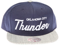 Oklahoma City Thunder OKC White Script Mitchell & Ness Blue and Grey Snapback Hat