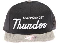 Oklahoma City Thunder OKC White Raised Script Mitchell & Ness Black and Grey Snapback Hat