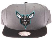 Charlotte Hornets Zebra Underbrim Mitchell & Ness Grey Snapback Hat