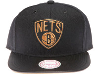 Brooklyn Nets Gold Logo Leather Brim Mitchell & Ness Black Snapback Hat