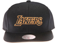 Los Angeles Lakers Gold Logo Leather Brim Mitchell & Ness Black Snapback Hat