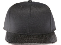 Black Crocodile Brim Blank Plain Black Unbranded Snapback Hat