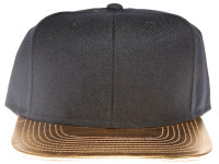 Gold Metallic Brim Blank Plain Black Unbranded Snapback Hat