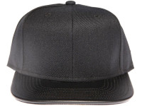 Black Leather Brim Plain Black Unbranded Snapback Hat