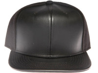 Black Leather Front / Brim Plain Black Unbranded Snapback Hat