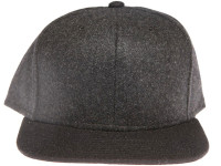 Black Brim Melton Wool Black Unbranded Snapback Hat