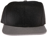 Two-Tone Wool Heather Plain / Blank Unbranded Snapback Hat
