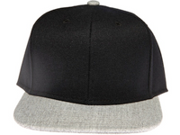 Melton Two-Tone Black and Grey Plain / Blank Unbranded Snapback Hat