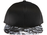 Black and White Floral Blank / Plain Unbranded Snapback Hat