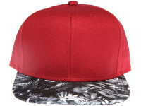 Maroon Red with Black Floral Brim Blank / Plain Unbranded Snapback Hat