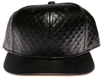 Black Quilted Blank with Tan Suede Underbrim / Plain Unbranded Strapback Hat