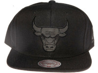 Chicago Bulls NBA Black Relflective Logo Mitchell & Ness Black Snapback Hat