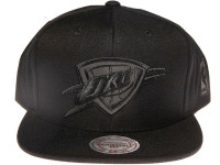 OKC Thunder NBA Black Reflective Logo Mitchell & Ness Black Snapback Hat