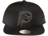 Indiana Pacers NBA Black Relflective Logo Mitchell & Ness Black Snapback Hat