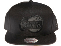 Los Angeles Clippers NBA Black Relflective Logo Mitchell & Ness Black Snapback Hat