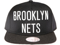 Brooklyn Nets NBA Bold Wordmark Weld Script Mitchell & Ness Black Snapback Hat