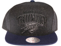 Oklahoma City OKC Thunder Grey Wool Arch Mitchell & Ness Snapback Hat