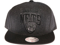 Brooklyn Nets Grey Wool Arch Mitchell & Ness Snapback Hat