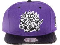 Toronto Raptors White Logo Carbon Fibre Brim Mitchell & Ness Purple Snapback Hat