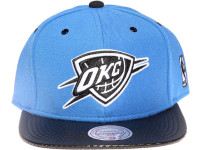 Oklahoma City OKC Thunder White Logo Carbon Fibre Brim Mitchell & Ness Blue Snapback Hat