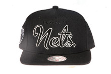 Brooklyn Nets Script Outline Mitchell & Ness Snapback Hat