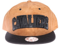 Cleveland Cavaliers Brown Suede Arch Mitchell & Ness Snapback Hat