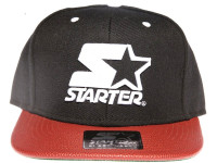 Starter White Star Logo Basketball Brim STARTER Black Snapback Hat