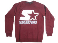 Starter White and Grey Logo Maroon Crewneck Jersey