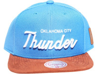 OKC Thunder Script Tan Suede Brim Mitchell & Ness Light Blue NBA Snapback Hat