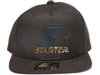 Starter Black and Gold Metal Logo STARTER Black Nylon Snapback Hat
