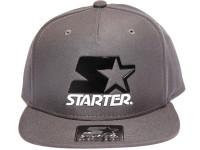 Starter Black and White Metal Logo STARTER Grey Nylon Snapback Hat