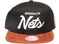 Brooklyn Nets Script Tan Suede Brim Mitchell & Ness Black Snapback Hat