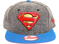 Superman Logo New Era Cartoon Grey Speckle Snapback Hat