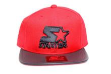 Red Navy Logo Blue Leather Brim STARTER Snapback Hat