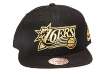 Philadelphia 76ers Gold Metallic Logo Black Mitchell & Ness NBA Snapback Hat