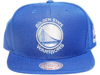 Golden State Warriors Solid Blue Metallic Logo Mitchell & Ness NBA Snapback Hat