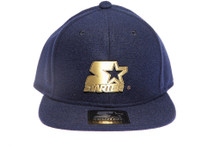 Solid Navy with Rubbed Gold Metallic Logo STARTER Snapback Hat